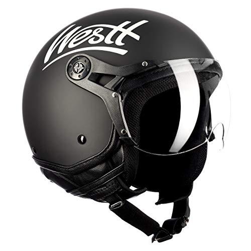 westt classic x jethelm retro schwarz helm motorrad roller motorradhelm damen und herren. Black Bedroom Furniture Sets. Home Design Ideas
