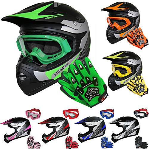 leopard leo x19 kinder motocross mx helm motorradhelm handschuhe brille gr n xl 55cm ece. Black Bedroom Furniture Sets. Home Design Ideas
