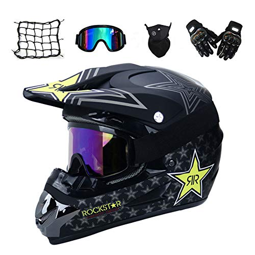 mrdear motorrad crosshelm mit brille 5 st ck schwarz rockstar adult motocross helm. Black Bedroom Furniture Sets. Home Design Ideas